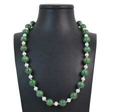 Collana in Diaspro Verde,Perle,Intercalari con chiusura Argento925.MadeinItaly