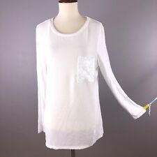 NY Collection Top Blouse Shirt White Crepe Sequin Pocket Long Sleeve XL XLarge