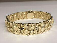 """14kt Solid Gold Mens Nugget Bracelet 15 MM 63 grams 8"""""""