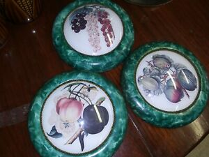Lot Of 3 Vintage MARAD WALL DECOR Round Fruit Plaques