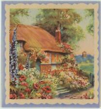 VINTAGE ENGLISH COUNTRY SIDE COTTAGE HOUSE POPPIES HOLLYHOCKS GARDEN CARD PRINT