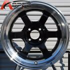 15X8 ROTA GRID-V WHEELS 4X114.3 RIM 0MM ROYAL BLACK FITS CELICA (1976-1985)