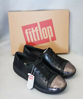 New Fitflop F-Sporty Mirror Toe Sneakers Black Lace Up Leather Trainers Box Sz 5