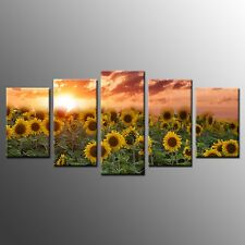 FRAMED Sunflower Picture Giclee Canvas Prints Art For Kitchen Wall Decor-5pcs
