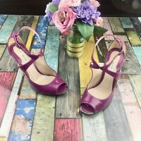 REISS Gorgeous Magenta Patent Shoes Size 4 Peep Toe