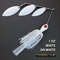 Bassdozer spinnerbaits TRIPLE WILLOW 1 oz D. WHITE ON WHITE spinner bait baits
