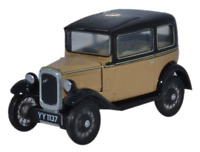 Oxford Diecast 76ASS001 Austin Seven RN Saloon Fawn OO Gauge