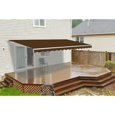 ALEKO 20 x 10 Feet Retractable Motorized Patio Awning Brown Color