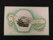 Vintage St Patrick's Day Postcard Unused Embossed Horseshoe Harp Clover Shamrock