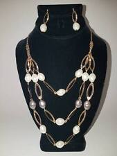 """Layered Pearlesque"" Statement Necklace & Earrings Set by AVON Goldtone"