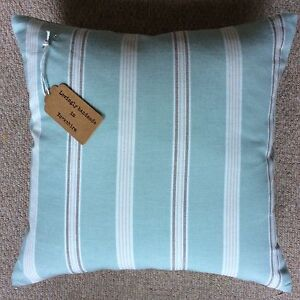 "New quality 16""x16"" cushion cover teal striped woven fabric zip fastening"