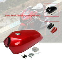 9L/2.4 Gallon Universal Motorcycle Cafe Racer Gas Fuel Tank fit cap switch New