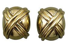 Ciner Vintage Clip Statement Earrings Gold X Style Modernist Designer 160g