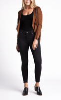 NWT Silver Most Wanted Skinny Leg Mid Rise Black Jeans Size 33 (12/14) x 29