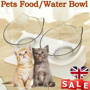 Dog Cat Pet Feeding Station Food Water with Raised Stand Single Double Bowl