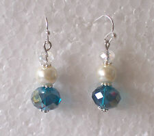 Pearl/turquoise bead small drop earrings (pierced or clip) bridesmaid child
