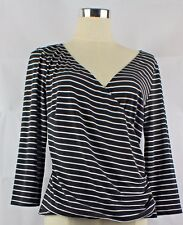 EVENTS Striped 3/4 Sleeve Faux Wrap Top Size 3  black & white Work Career Womens