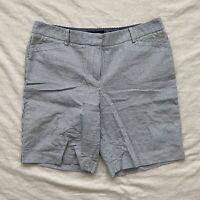 Talbots Petite Womens Searsucker Bermuda Shorts Blue White Size Petite 12P