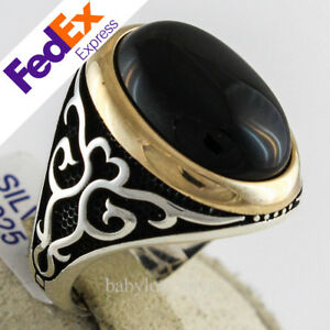 925 Sterling Silver Turkish Handmade Ottoman Onyx Men's Luxury Ring All Size
