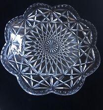 Avon by Fostoria Cut Crystal Stars Starburst Scalloped Trinket Dish 1970s Vntg