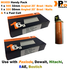 32mm + 50mm Mixed 16g ANGLED Nails, 2 x 500 pack + 1 x Fuel Cell for Paslode, A2