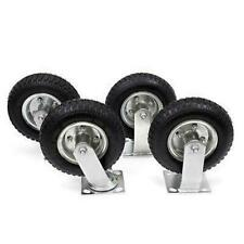 "4Pcs 8"" Pneumatic Air Tire Wheel 2 Rigid + 2 Swivel Hd Farm Cart Caster Large"
