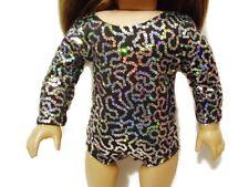 Black Silver Leotard fits American Girl 18 inch doll clothes Ballet Gymnastics