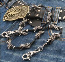 "Dragon Pendant Synthetic Leather Biker  Key Jean Wallet Chain (27"") Black CS44"