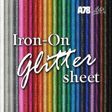 Fabric Glitter Iron-on Hot-Fix Clothing Vinyl Transfer sheet 20cm x 25cm