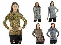 Women Long Sleeve Leopard Print Turtle Polo Roll Neck Ladies Stretch Jumper Top