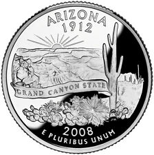 2008 S SILVER GEM PROOF ARIZONA STATE QUARTER 90% SILVER