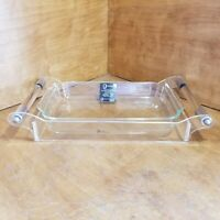 Vintage Grainware Lucite And Chrome Carrier/Serving Tray W/Casserole Dish