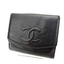 Auth Chanel W Hock Wallet Caviar Skin unisexused J3622