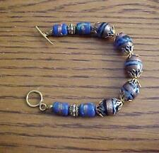"BRACELET- LAMP WORK BEADS - 14/20 GOLD FILLED CLASP 7"" LONG"