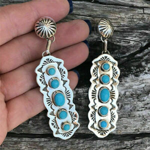 Retro 925 Silver Dangle Drop Earrings Ear Hook Turquoise Women Fashion Jewelry