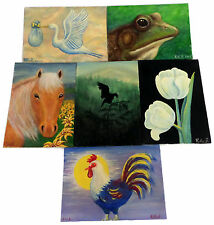 Lot of 6 Small Original Nature Paintings Signed Rita Z Acrylic on Canvas Boards