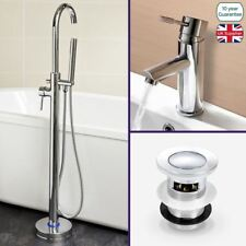 BATHROOM BASIN MIXER FAUCET TAP + FREESTANDING BATH SHOWER MIXER + CLICK WASTE