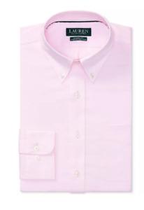 Lauren Ralph Lauren Dress Shirt Classic No Iron Ultraflex Button Collar Pink