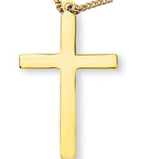 """MRT Gold Over Solid Sterling Silver Cross Pendant w Chain 1.25"""" Christian Gift"""