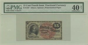 Fourth Issue 15 Cents Fractional Currency Watermarked Paper Fr#1267 PMG XF40 NET