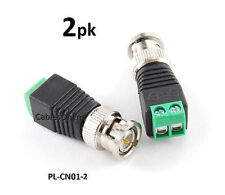 2-PACK BNC Male Plug to AV 2-Screw Terminal Block Balum Connector - PL-CN01-2