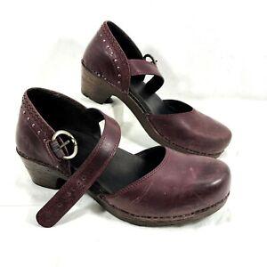 Women's Dansko Burgundy Leather Mary Janes Makenna Studs Sz 42 US 11.5 - 12