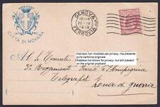 NOVARA CITTÀ 357 ENTE AUTONOMO CONSUMI Via MANZONI Cartolina viaggiata 1918