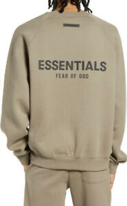 🔥FEAR OF GOD ESSENTIALS Pull-Over Crewneck Size Large Taupe Color