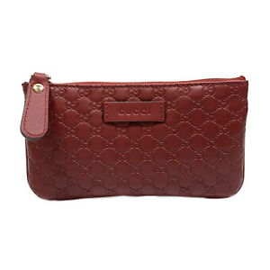 GUCCI coin purse wallet 544248 leather Micro Guccissima Red Used unisex logo