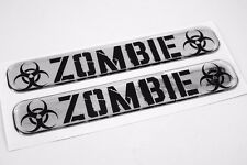 "Zombie Domed Decal Emblem Resin chrome car biker stickers 5""x 0.82"" 2pc."