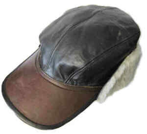 B-2 Flying Cap USAAF Winter WWII US Army Air Forces Leather Sheepskin Hat WW2 B2