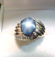MEDIUM DARK BLUE GENUINE STAR SAPPHIRE 2.84 CT with DIAMONDS 14K GOLD RING