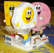 Lakewood Blueclaws Egg, pork roll and cheese mascot's bobblehead sga set all 3
