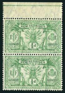 New Hebrides Br 17 wmk 3 pair, MNH. Michel 27. Coat of Arms, 1911.